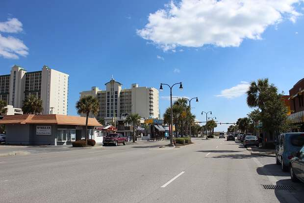 North Myrtle Beach Main Street - View Toward the Ocean