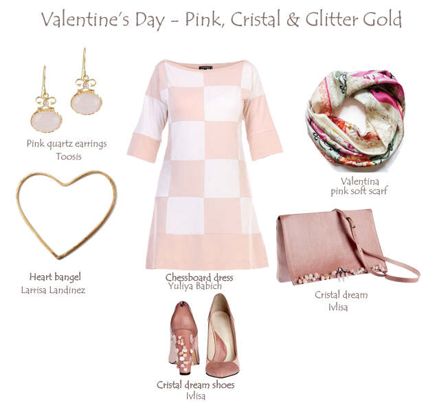 Valentine's Day Outfit – Pink, Crystal & Glitter Gold