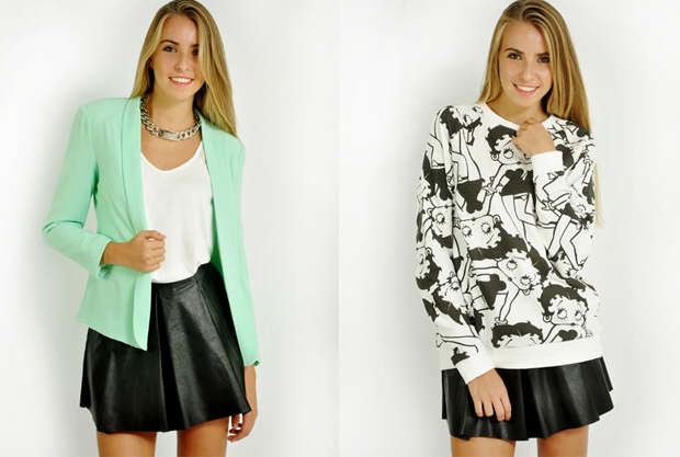 Blazer and sweatshirts are fashion favorites for cool spring days at the beach.