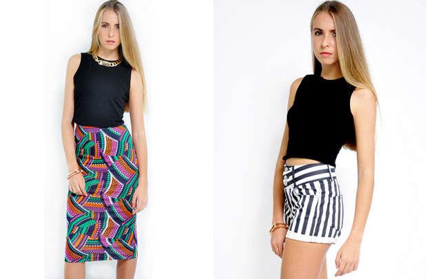 Versatile midnight crop top paired with a high waist skirt for an evening on the beach.