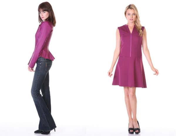 Peplum leather jacket and sleeveless leather trim flare dress
