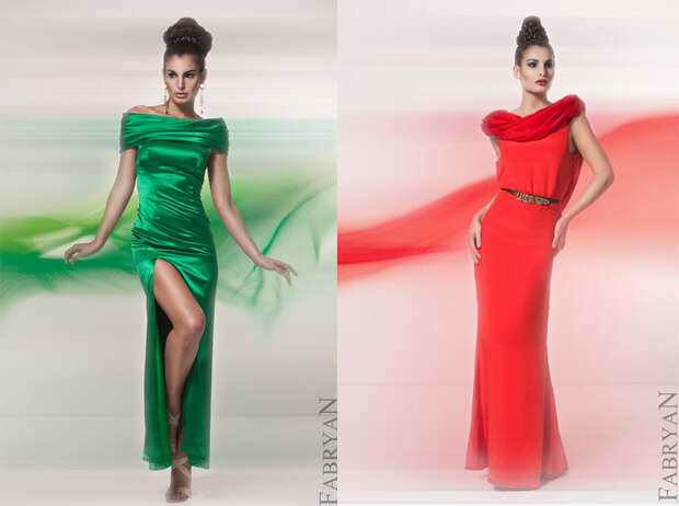 Bright green and red silk elegant dresses