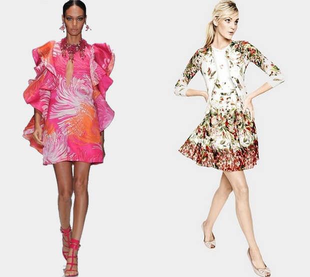 Floral Printed Slim Dress & Large Lotus Leaf Printing Slim Dress
