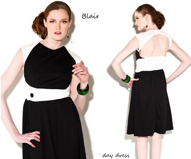 Blair dress in black & white