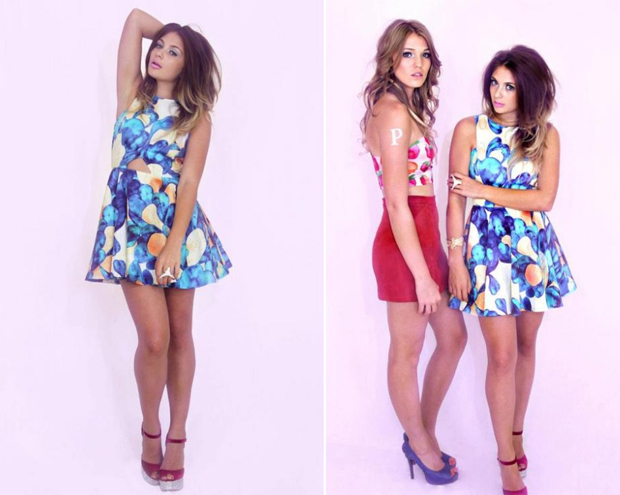 Blue floral hand painted circle dress
