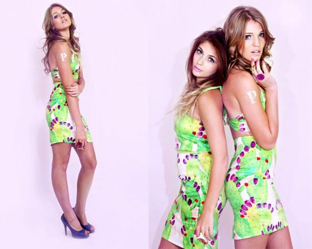 Hand painted cactus print pencil style dress with neon green organza perfect for summer time.