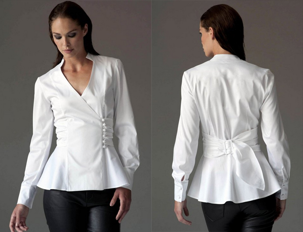 Josephine white shirt with a belted waist give a shapely feminine look