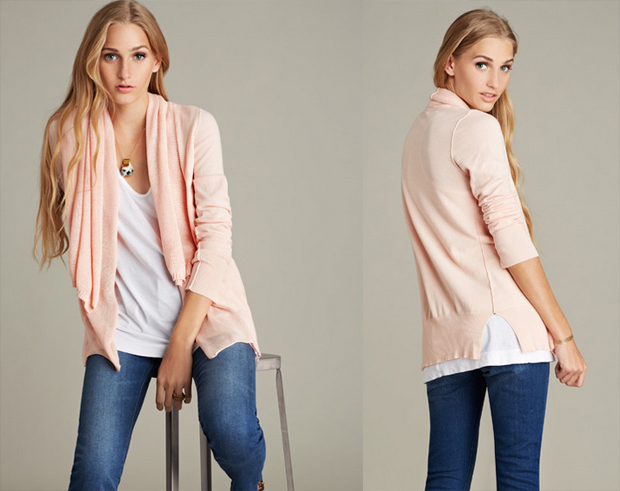 Pink blush cotton cardigan with long sleeves features two layers of a mesh stitch at the shawl neck with side slits and pink bartacks at the sides.