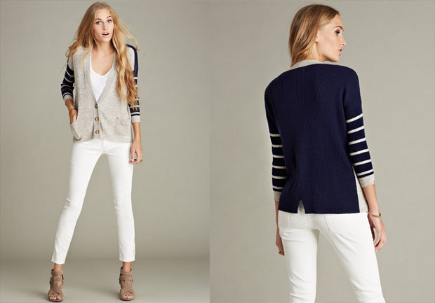 Grey-navy wool and cashmere blend cardigan featuring striped sleeves with contrast color in front and back.
