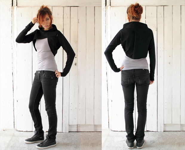 Black jersey shrug with long sleeves