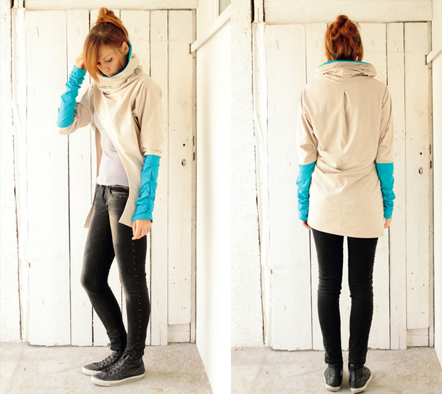 Beige & Turquoise Long Draped Sweatshirt with cowl neck