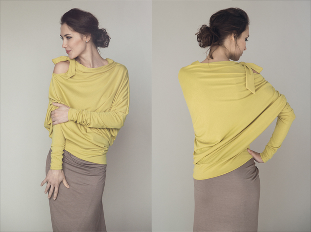 LeMuse Asymmetric Blouse with a Bow