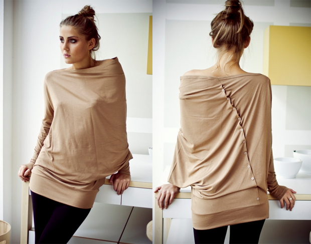 Capuccino Asymmetric Muse Blouse with Buttons
