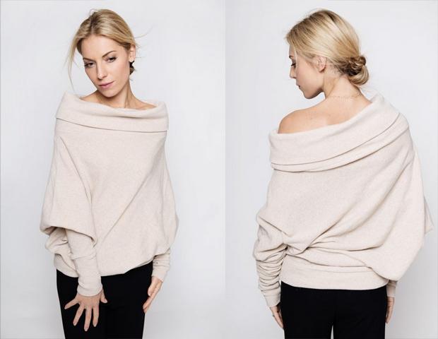 Creamy Woolen Asymmetric Sweater