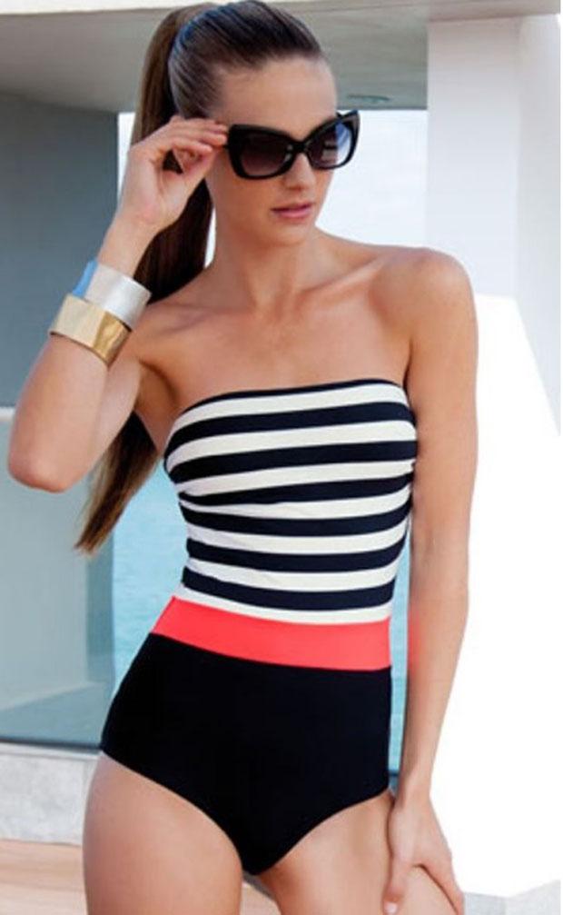 Stripes & color block swimsuit